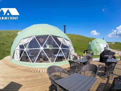 Glamping Dome tent with Green Canvas Cover