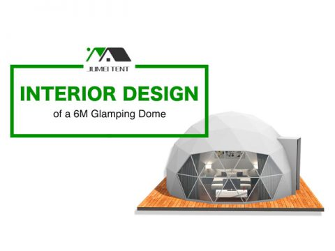 Interior design and configuration of a glamping dome tent