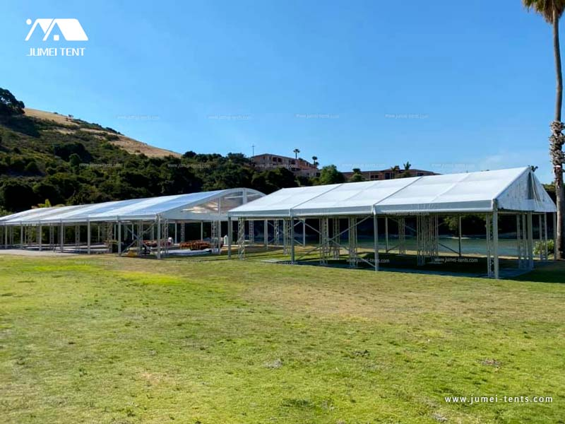 Large Clear Arcum Tent and White A-Shape Tent for Outdoor Events